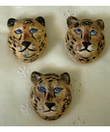 3 TIGER Wildlife Button Covers - Blue Eyes - 15mm Metal Finding - $8.00
