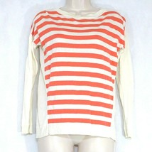 Talbots Sweater Knit Top Women Size SP Coral Ivory Stripe Long Sleeve Vi... - $14.84