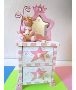 Pink White BABY GIRL plaster TRINKET BOX CHEST w/2 DRAWERS & MIRROR Crow... - $8.95