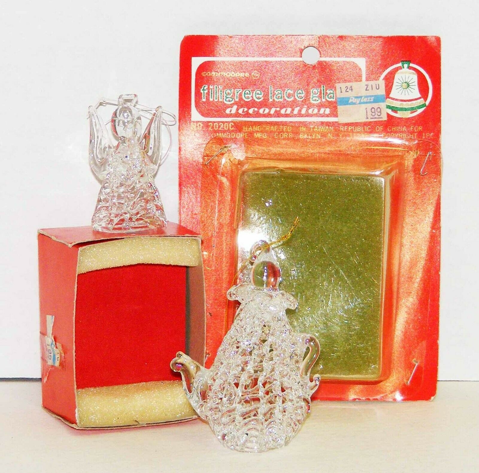 "Primary image for 2 Vintage Filigree Glass ""Crystal"" Christmas Ornaments Angel & Teapot"