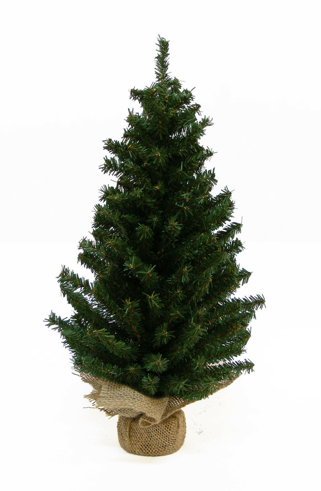 "Primary image for KURT ADLER 24"" MINIATURE PINE CHRISTMAS TREE w/ROUND PINE BASE COVERED IN BURLAP"
