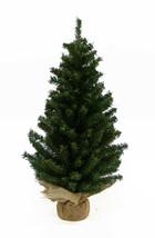 "Kurt Adler 24"" Miniature Pine Christmas Tree w/ROUND Pine Base Covered In Burlap - $16.88"