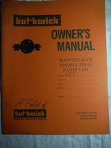 Kut-Kwick H-1000-36 H-1600-36 lawn tractor manual orig owner's parts manual rare - $16.41