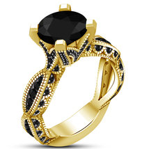 Yellow Gold Plated 925 Sterling Silver Round Cut Black Diamond Engagemen... - £60.54 GBP