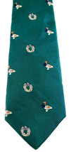 Lands' End Necktie Tie Silk Green Christmas Wreath Duck Ribbon Vintage - $6.92