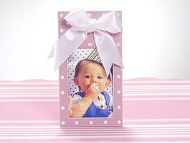 Pink Picture Frame with White Polka Dots and White Satin Bow - $9.69
