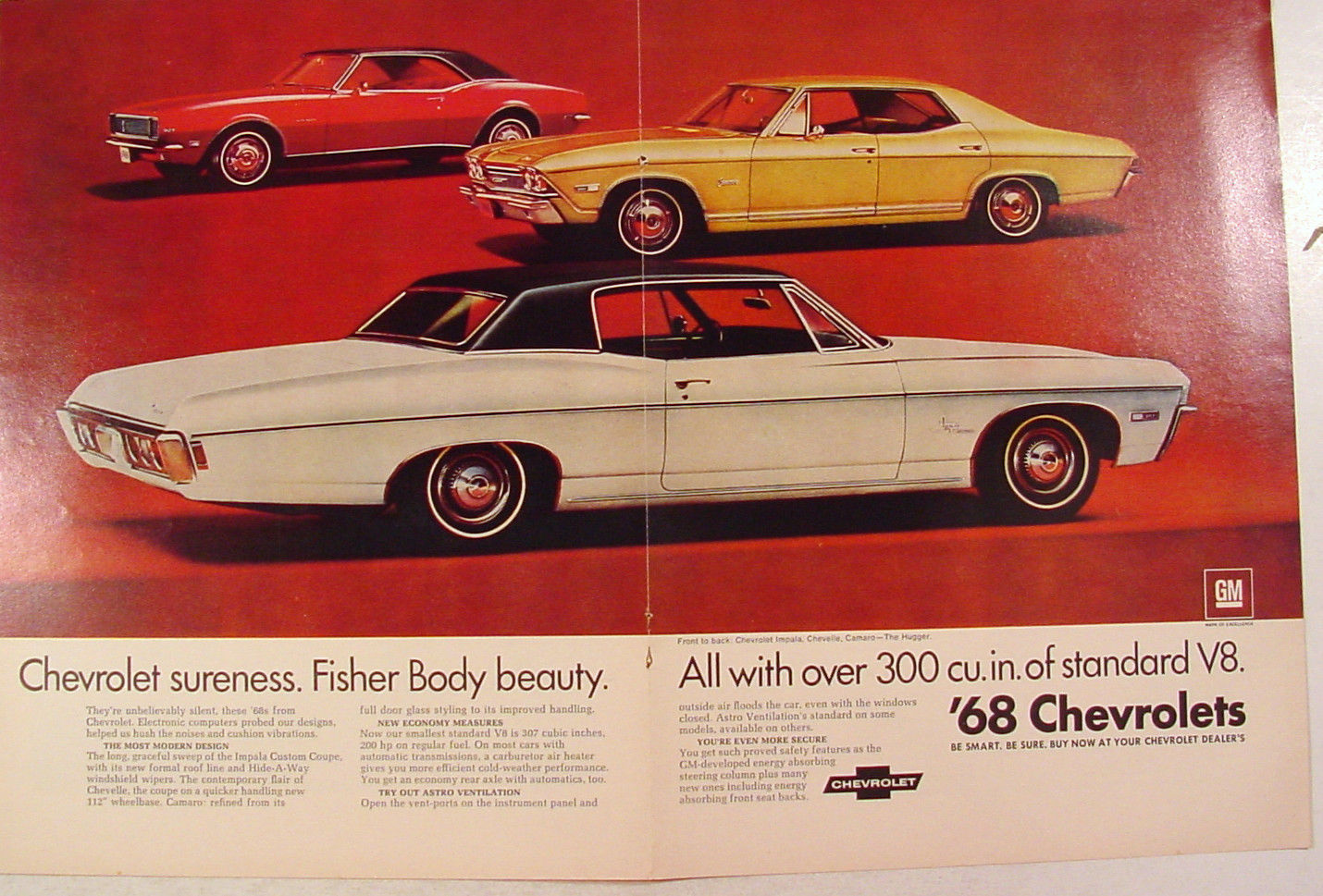1968 Chevrolet Impala Chevelle Camaro And 50 Similar Items 2 Door Hugger Page Print Ad