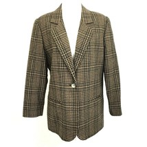 Sag Harbor Petite Women's Lined Blazer Jacket Houndstooth Plaid 8P Black... - $34.64