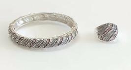 Avon Alexandria Pink Rhinestone Silver Tone Hinged Bangle Bracelet & Ring 8.5 - $19.79