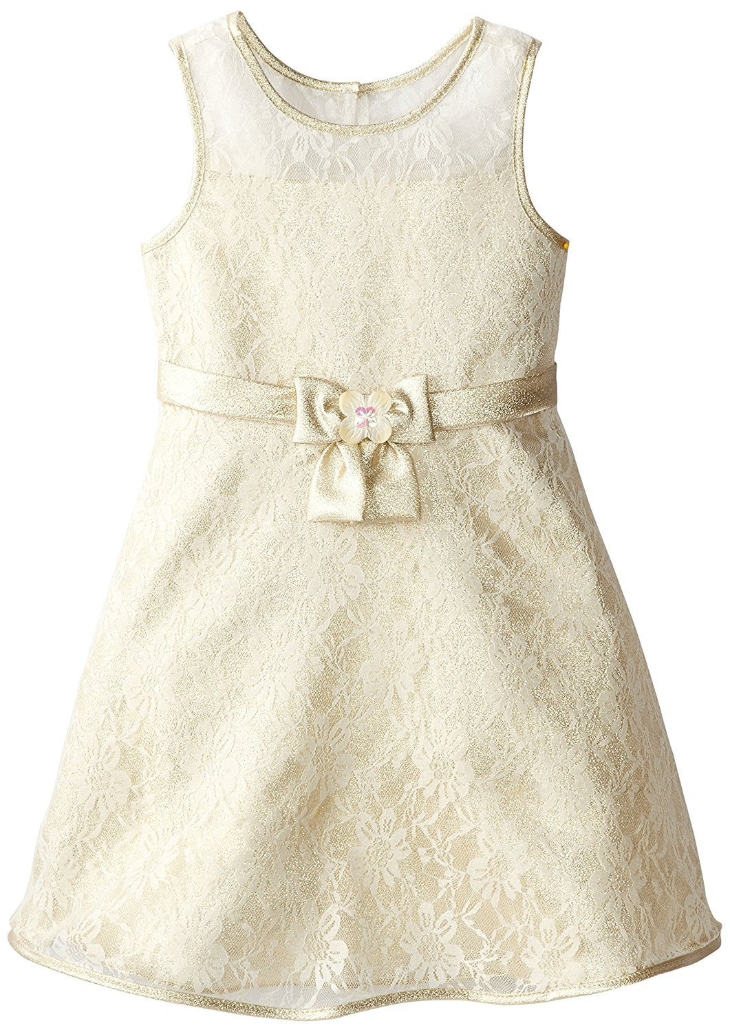 Bonnie Jean Big Girl Tween 7-16 Metallic Gold Ivory Floral Lace Fit Flare Dress