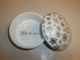 Charter Club LET IT SNOW Ceramic Box NEW Christmas Holiday Macys Holiday... - $34.65