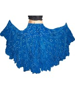 TURQUOIS Cotton JAIPUR 25 Yard 4 Tier Gypsy Skirt American Belly Dance P... - $48.63