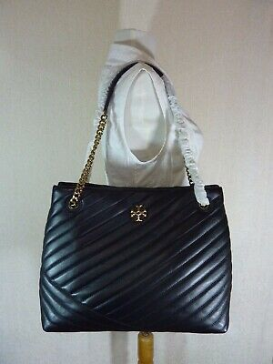 Primary image for NWT Tory Burch Black Kira Chevron Tote $598