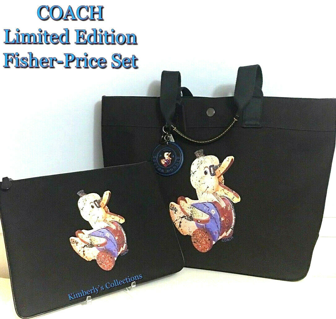 Primary image for COACH Duck Black Tote Bag, Cosmetic Pouch & Keychain Charm Fisher Price 3pc Set