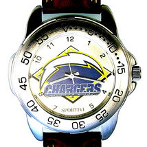 San Diego Chargers, Sportivi New Unworn NFL Mans Vintage 1997 Leather Watch! $79 - $78.06