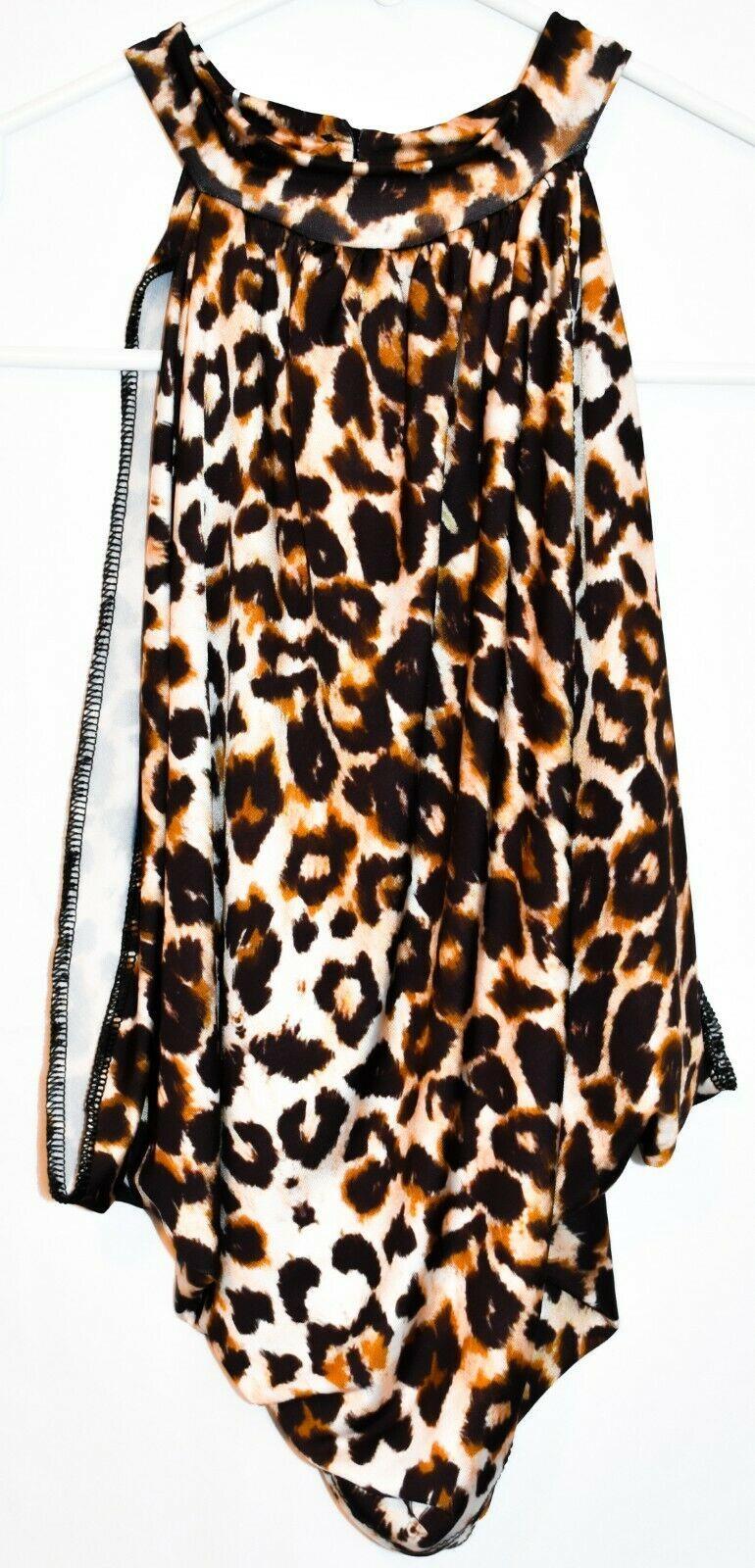 Pretty Little Thing Women's Leopard Animal Print Open Neck Wrap Crop Top Size 4