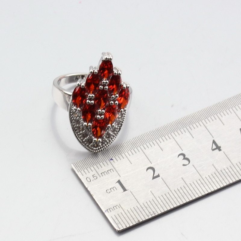 Primary image for Manny Trinket Charming Red Zircon Wedding Decoration 925 Silver Women Jewelry Se