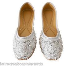 Women Shoes Jutti Indian Handmade Leather Wedding Oxfords White Mojari US 7  - £20.21 GBP