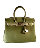 30 cm St. Germain Genuine Leather Top Handle Padlock Handbag Green Desig... - $350.00