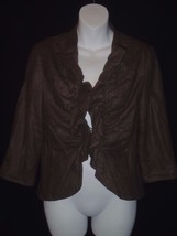 Size 8 Tabitha Anthropologie Brown Ruffle 3/4 Sleeve Jacket Blazer Short... - $23.08