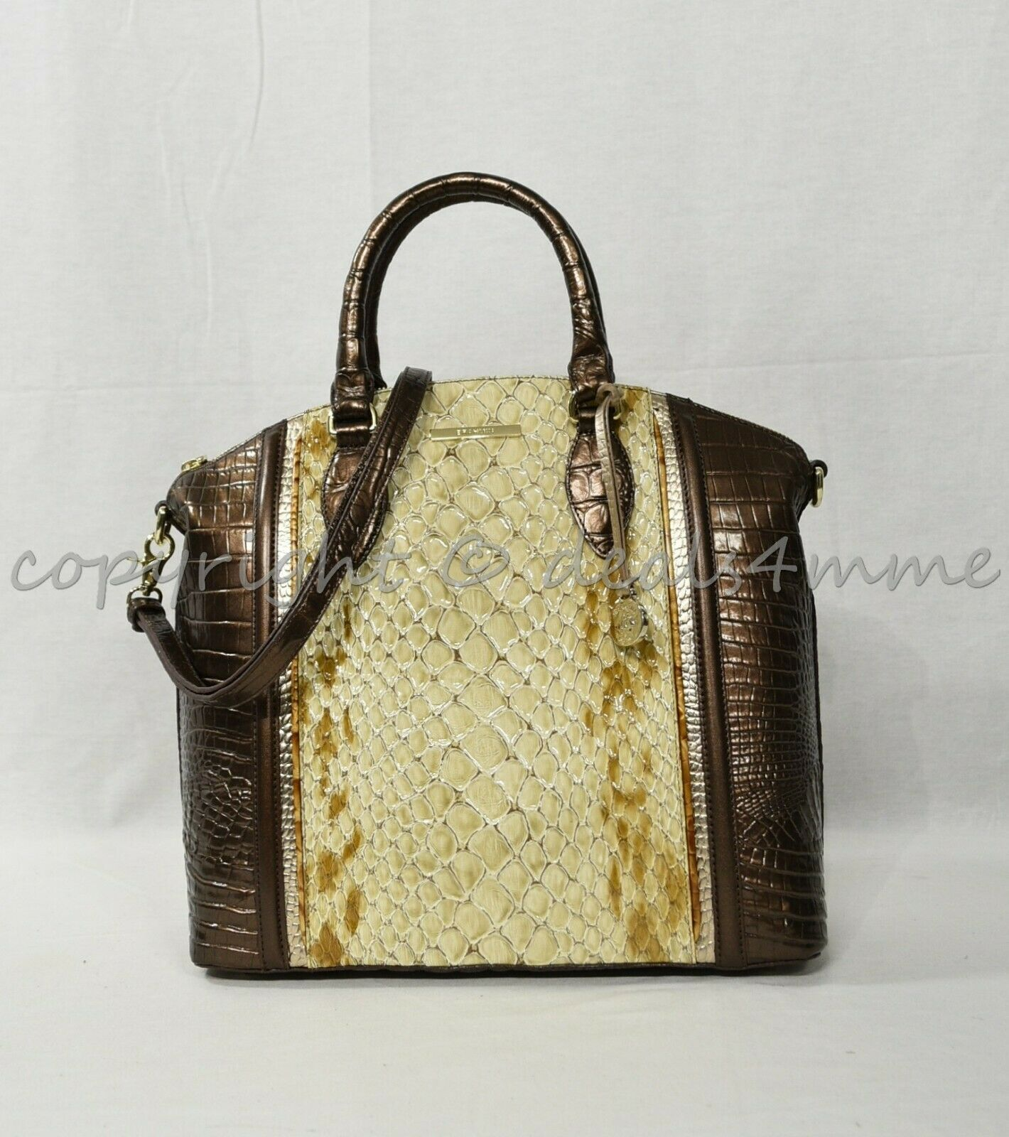 NWT Brahmin Large Duxbury Satchel/Shoulder Bag in Honey Carlisle
