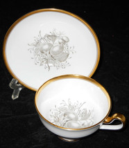 Spode Chatham Fruit CUP/SAUCER Set No 12 Gold Y5280 Gray - $33.65