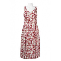 Anne Klein Sleeveless V-Neck Printed A-Line Chiffon Dress, Hickory Combo, 6 - $34.64