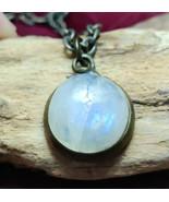 Rainbow Moonstone handmade gemstone pendant necklace #027 - $30.00