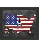 """United States Space Force Patriotic Flag Map 9"""" x 11"""" Framed Photo - $29.99"""