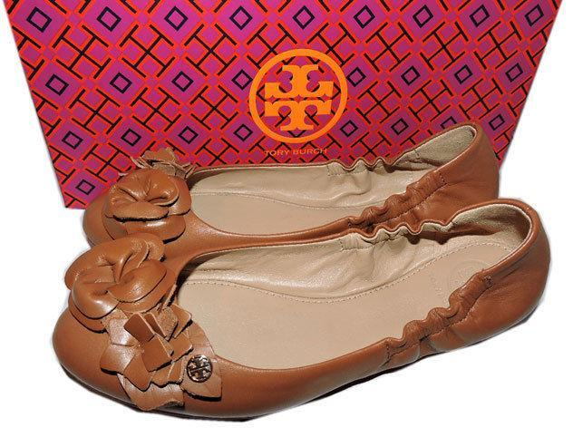 e012566c9cfa Tory Burch BLOSSOM Ballerina Flat Brown Leather Ballet Shoe Gold Logo Size 8
