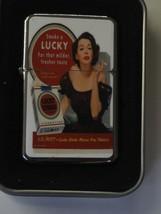 Vintage Art Work Windproof Dual Flame Torch Lighter Lucky Strike Milder Fresher - $23.70