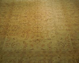 New Vintage Look Perfect Chobi Hand-Knotted 12x18 Beige Oushak Wool Rug image 9