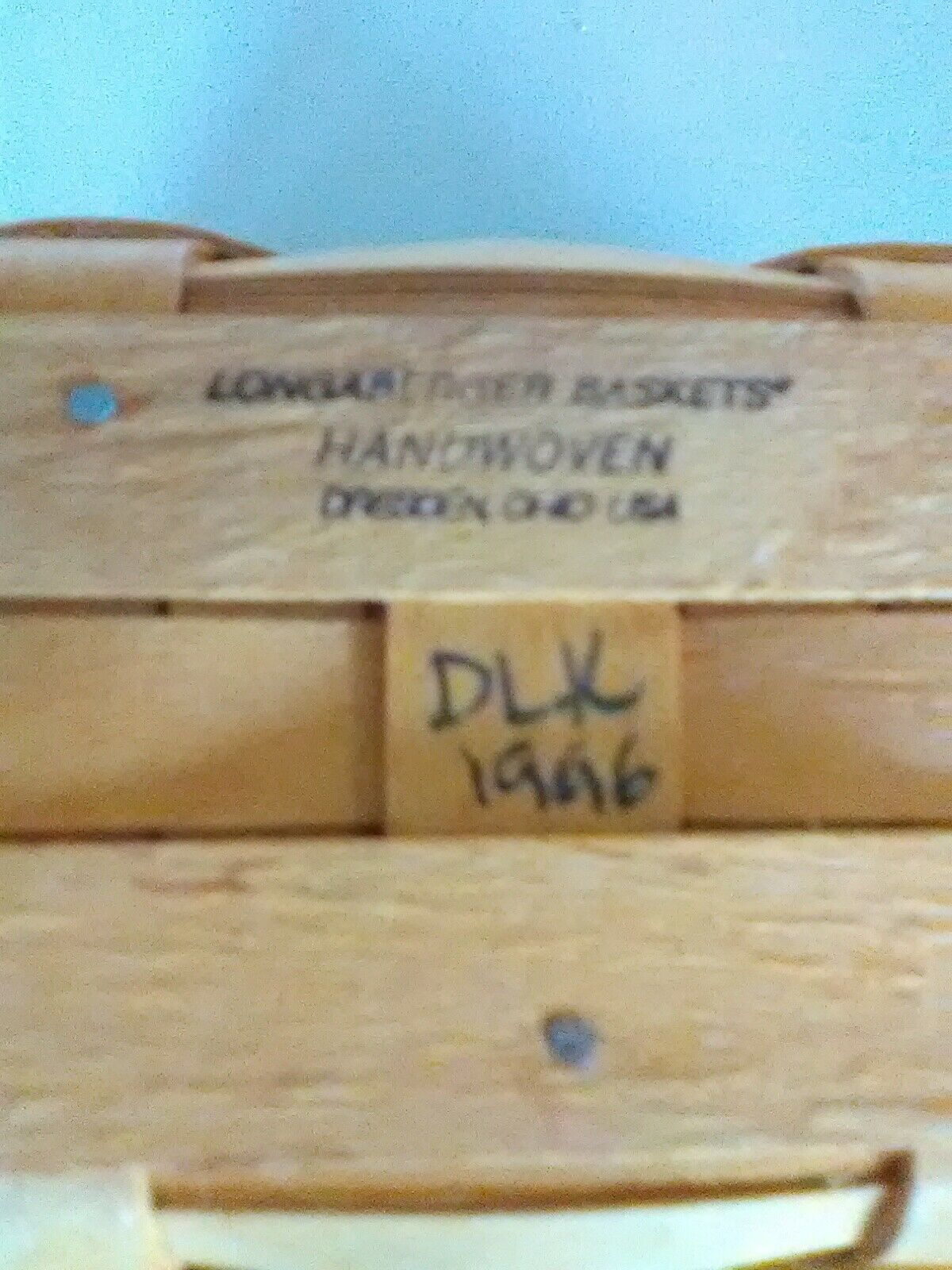 1996 Edition Longaberger Swing Handle Dresden Tour Basket w/ Plastic Liner image 6