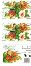 Booklet, TROPICAL FLOWERS, 20 x 33 cent, Floral USPS, UNUSED, Stamps - $7.50