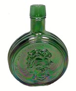 Wheaton Carnival Glass Bottle Andrew Jackson Decanter Emerald Green 1971 - $9.95