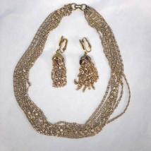 GOLDEN CASCADE Multi-strand Necklace & Tassel Clip Earrings Set Sarah Coventry - $25.00