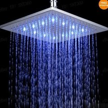10 inch Square Temperature Sensor Changing //7 Color LED Rainfall Shower Head - $107.30