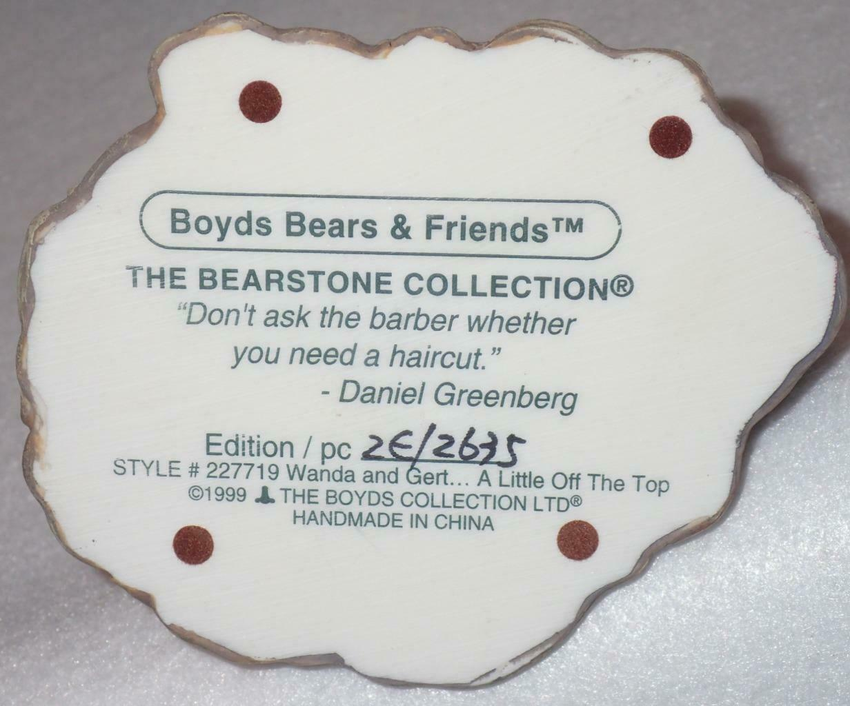 Boyd Bearstone Resin Bears Wanda & Gert A Little Off The Top Figurine #227719 image 4