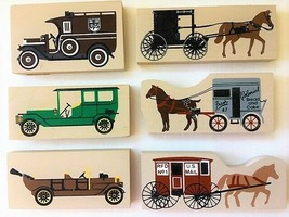 CAT'S MEOW 6 ~BREAD WAGON,MAIL WAGON,AMISH BUGGY,UPS TRUCK,LIMOUSINE,TOU... - $14.52