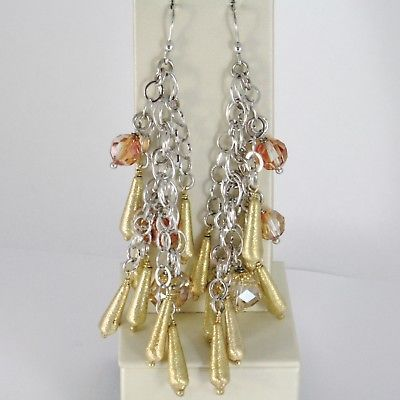 925 STERLING YELLOW SILVER PENDANT EARRINGS MULTI WIRE DROPS AND ORANGE CRYSTAL