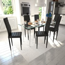 vidaXL Set of 6 Modern Dining Side Chairs Metal Frame Legs Faux Leather ... - $129.99
