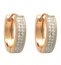 925 Sterling Silver Rose Gold Tone with Cubic Zirconia Silver Hoop Earring image 1