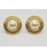 Vintage 80's Classic Faux Pearl Gold Statement Earrings Cabochon Clip-Ons - $21.78