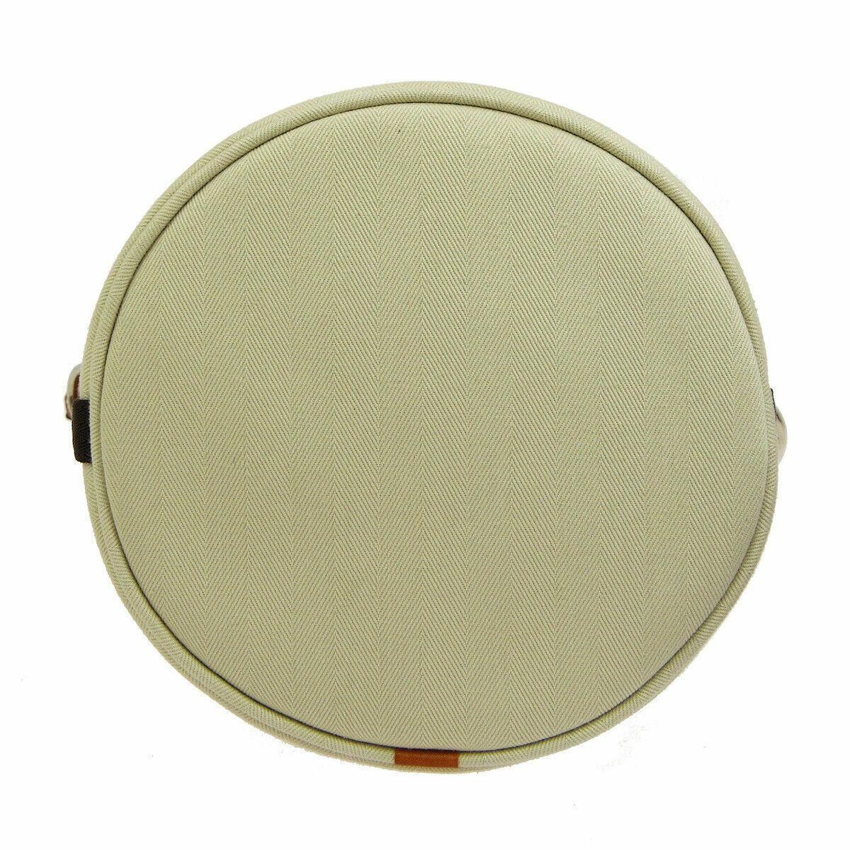 HERMES Sac De Pansage Shoulder Bag □L A R Ivory Brown Toile H Leather image 3
