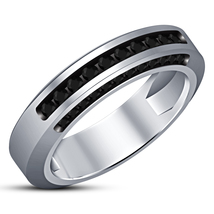 925 Sterling Silver 14k White Gold Plated Wedding Band Ring Round Cut Black CZ - $83.88
