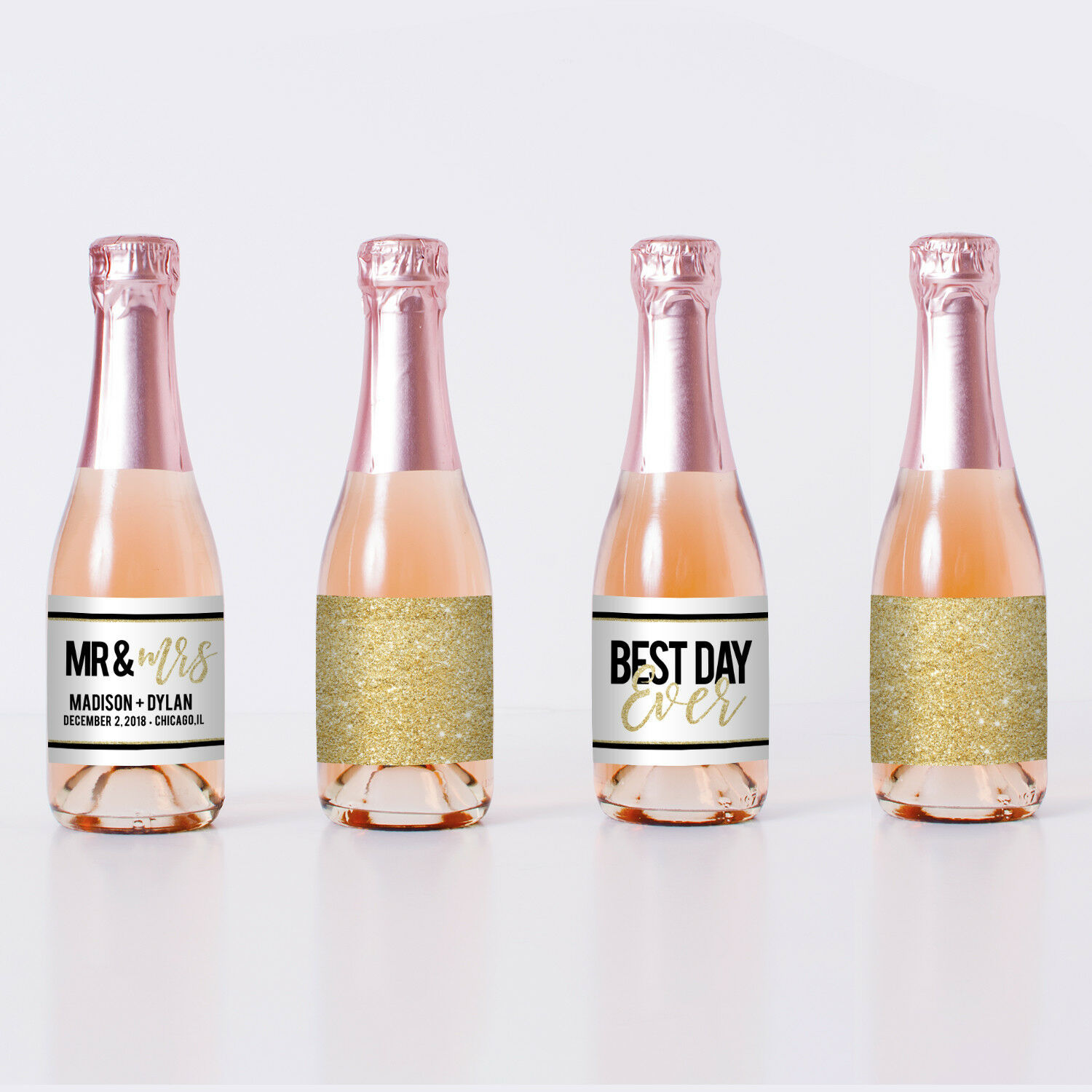 Best Day Ever Gold Mini Champagne Bottle Labels - Party Decoration - set of 20
