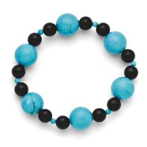 Ladies Chisel Black Agate Dyed Howlite Turquoise Color Stretch Bracelet - $23.03
