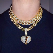 "Iced 18"" Cuban Link Chain With Broken Heart Icy Pendant - $77.99"