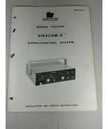 Federal Signal PA2100 siracom II siren control system manual 29pg (A12) - $29.70