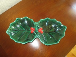 """Vtg. Lefton #1349 Green Holly Candy Or Nut Divided & Handled Dish - 9.5"""" X 4.5"""" - $8.38"""